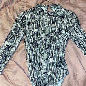 Charlotte Russe snake skin mock neck bodysuit
